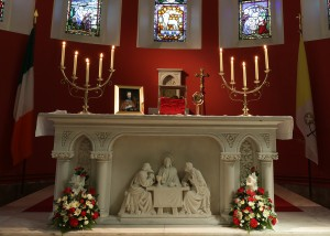 The chapel in St. Patrick's College is hosting the relic of St Oliver Plunkett today. Photo: Adrian Donohoe.